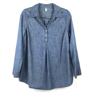 Old Navy Maternity Blue Chambray Popover Shirt